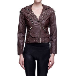 Women's Punk Brown Rivet Motorcycle Leather Long Sleeve Jacket