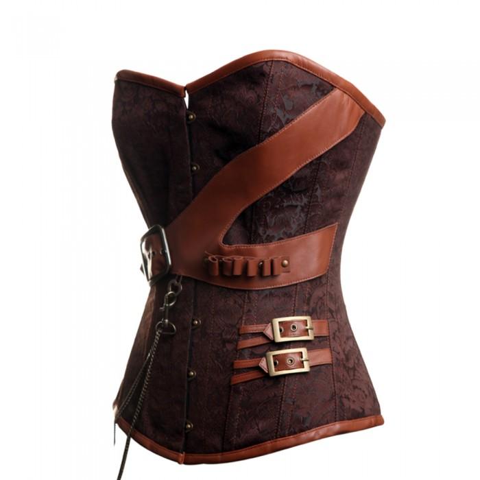 brown brocade belt steunk overbust corset 98784