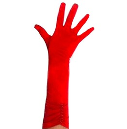 Elegant Long Scarlet Red Gloves With Red Faux Pearl Design