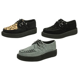 Tuk Low Sole Rockabilly Creeper Grey Or Black Suede Or Leopard Print Shoes