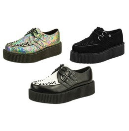 Tuk Mondo Sole Unisex Creeper Black & White Leather Black Suede Free Ship