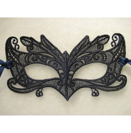 Handmade Wing Tipped Black Lace Mardi Gras Mask For Halloween Or Cosplay