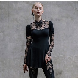 Steampunk Lace Tops With Necklace And Detachable Sleeve Sheath