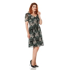 Voodoo Vixen Justine Paisley Fitted Retro Tea Dress