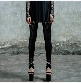 Gothic Cutout Floral Black Leggings