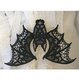 Handmade Black Lace Goth Bat Decoration For Halloween Or Fun