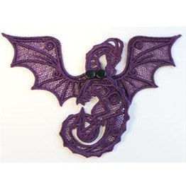 Handmade Purple Lace Goth Dragon Decoration For Halloween Or Fun