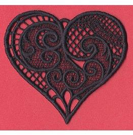 Handmade Black Lace Victorian Heart Pendant
