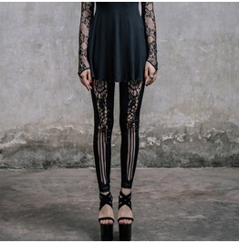 Floral Lace Up Black Leggings