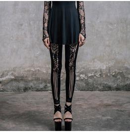 Floral Lace Up Black Leggings