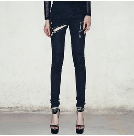 Punk Skeleton Hand Zipper Pockets Hollow Out Black Leggings