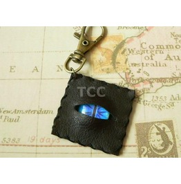 Faux Leather Eye Keychain Blue