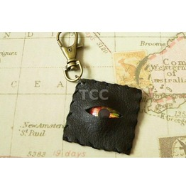 Faux Leather Eye Keychain Green & Red