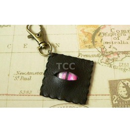 Faux Leather Eye Keychain Pink