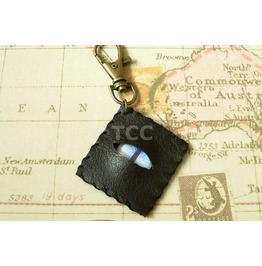 Faux Leather Eye Keychain Pale Blue