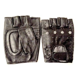 Biker Black Leather Fingerless Gloves Medium Size