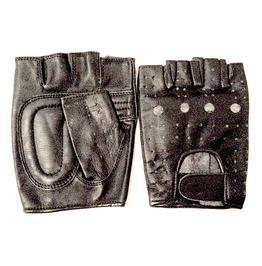 Biker Black Leather Fingerless Gloves Medium Size