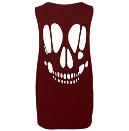 New Women Skull Open Back Cut Out Ladies Sleeveless T Shirt Vest Top