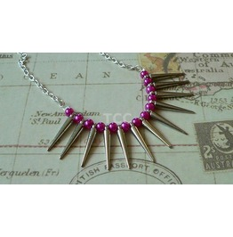 Spike Necklace (Metallic Pink Beads)