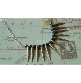 Spike Necklace Haematite Beads