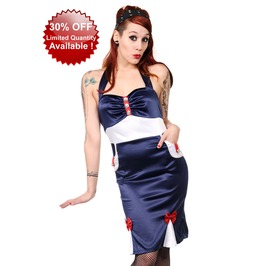 Banned Apparel Navy Blue Sailor Nautical Pencil Dress