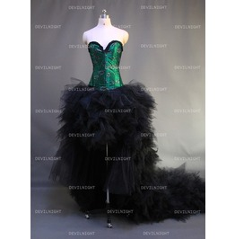 Green And Black Romantic Gothic Burlesque Corset High Low Prom Dress