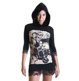 Still Alive Hoodie Dress Black Lace Zombie Horror Punk Rock Black Lace