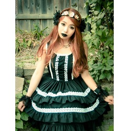 Gloomth Damsel Gothic Lolita Corset Jumperskirt Dress With Cotton Lace