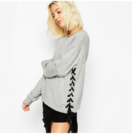 Lace Up Grey Casual Women's Sweatshirt