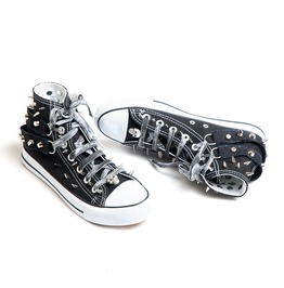 Rise Above Sneakers Black Male Shoes Studs Skull Man Punk Rock Tattoo Style