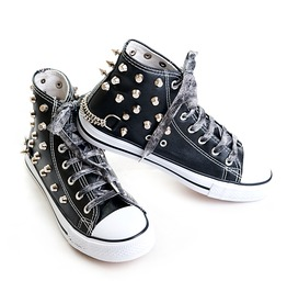 Trigger Sneakers Black Female Shoes Studs Skull Girly Punk Rock Woman