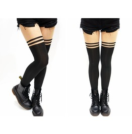 Mock Over The Knee Stripe Tights/ Pantyhose