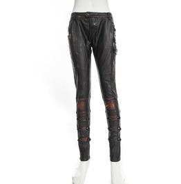 Steampunk Leather Women Pants