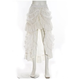 Steampunk Multilayer Lace Skirt White B067