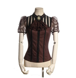 Rq Bl Steampunk Dot Straps Lace Tops With Collar Flower Sp087 Bk