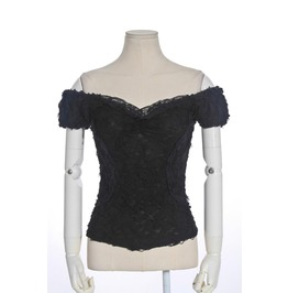 Steampunk Off The Shoulder Lace Tops Black B055