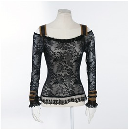 Steampunk Lace Shirt Black B019
