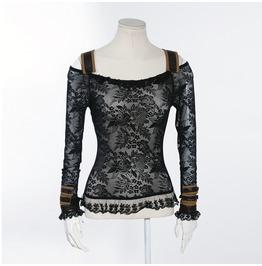 Steampunk Lace Shirt Black B019