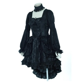 Gothic Black Autumn Dress With Lace Choker B21218