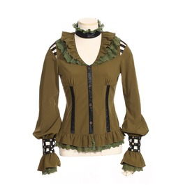 Gothic Leather Straps Blouse Green B105