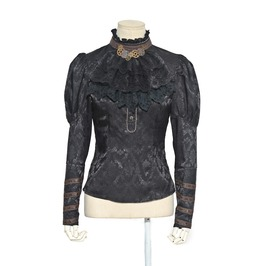Rq Bl Steampunk Floral Blouse With Collar Flower Sp059 Bk