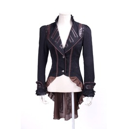 Steampunk Women's Faux Leather Lapel Lace Swallow Tailed Ruffle Coat B020