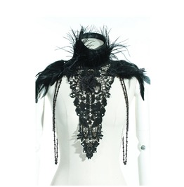 Rq Bl Gothic Floral Lace Feather Cape Neckwear 21222