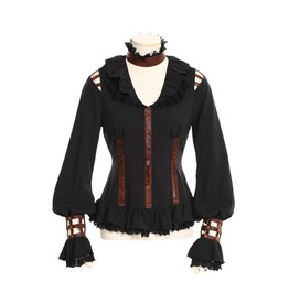 Gothic Leather Straps Blouse Black B105
