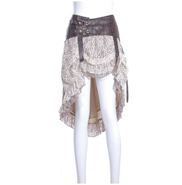Steampunk Victoria's High/Low Fishtail Lace Skirt Different Ways Wear 014