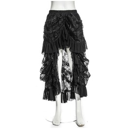 Steampunk Multilayer Lace Skirt Black B067