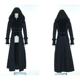 Steampunk Unisex Floral Woolen Overcoat