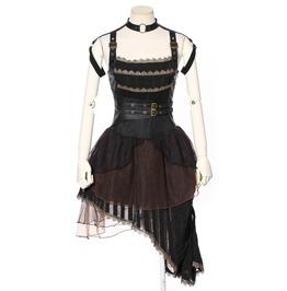 Steampunk Lace Asymmetrical Straps Dress