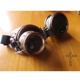 Bronze Steampunk Goggles With Loupe Mad Scientist Cyber Goggles Burning