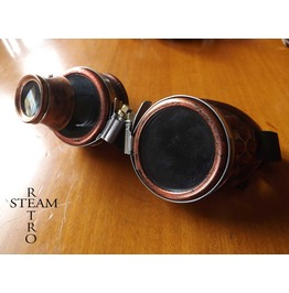 Copper Steampunk Goggles With Loupe Mad Scientist Cyber Goggles Burning